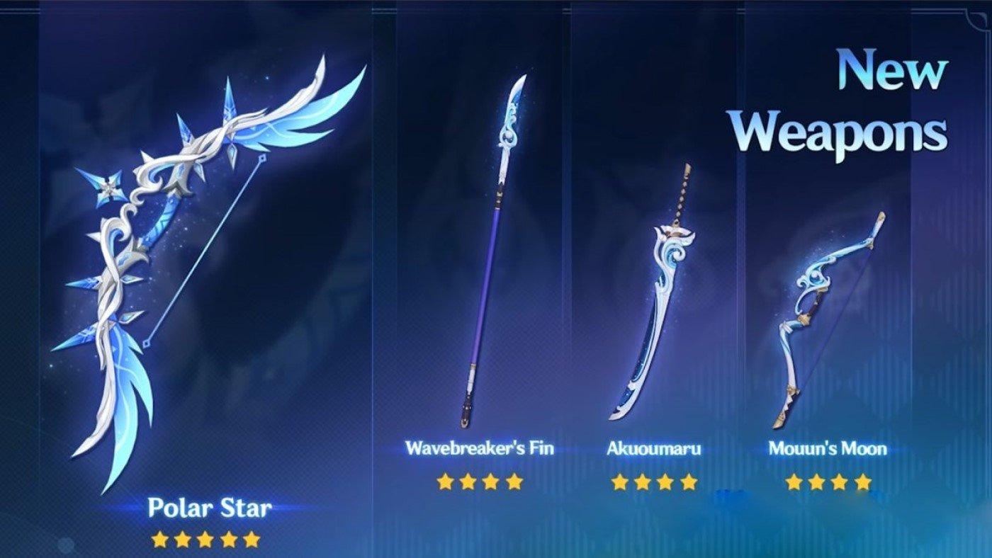 Genshin Impact 2.2: Arco Polar Star e as armas de 4 estrelas