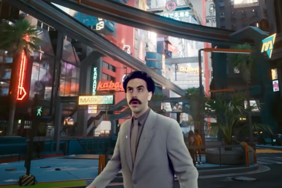Cyberpunk 2077: fã cria vídeo com Borat explorando Night City