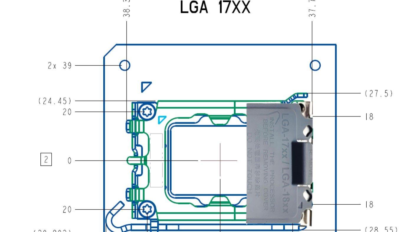 Intel LGA 1700 e LGA 1800 tem design vazado