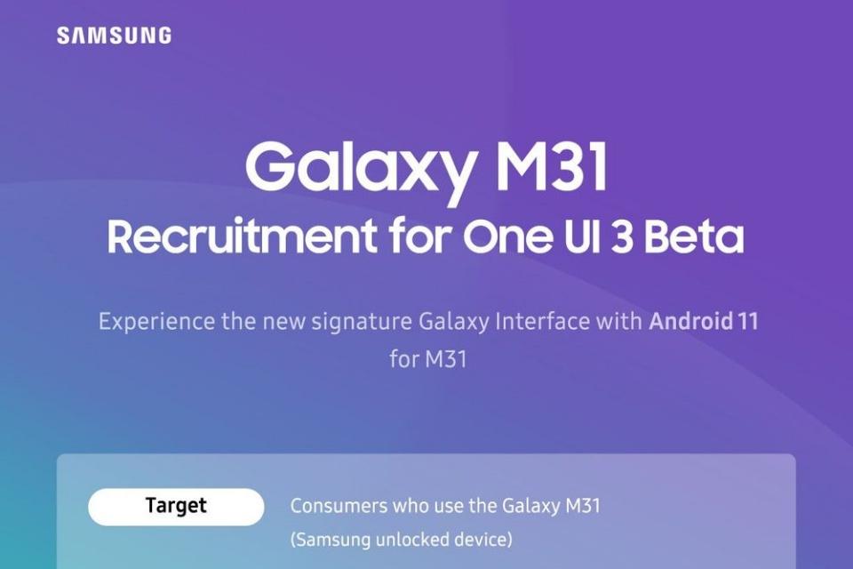 Samsung libera beta da One UI 3 para os celulares Galaxy A e M