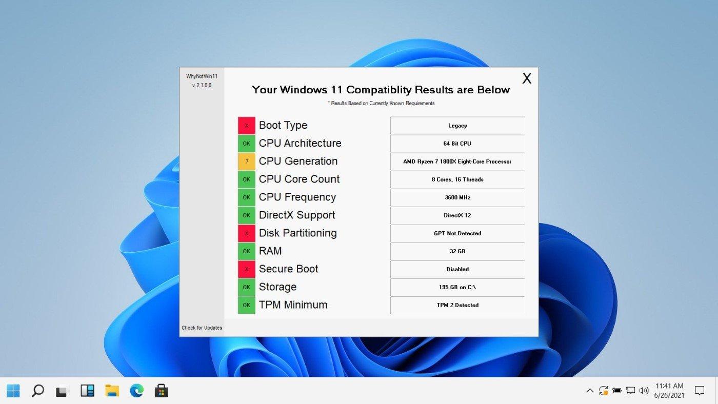 WhyNotWin11 é um substituto melhor para o PC Health Check do Windows 11